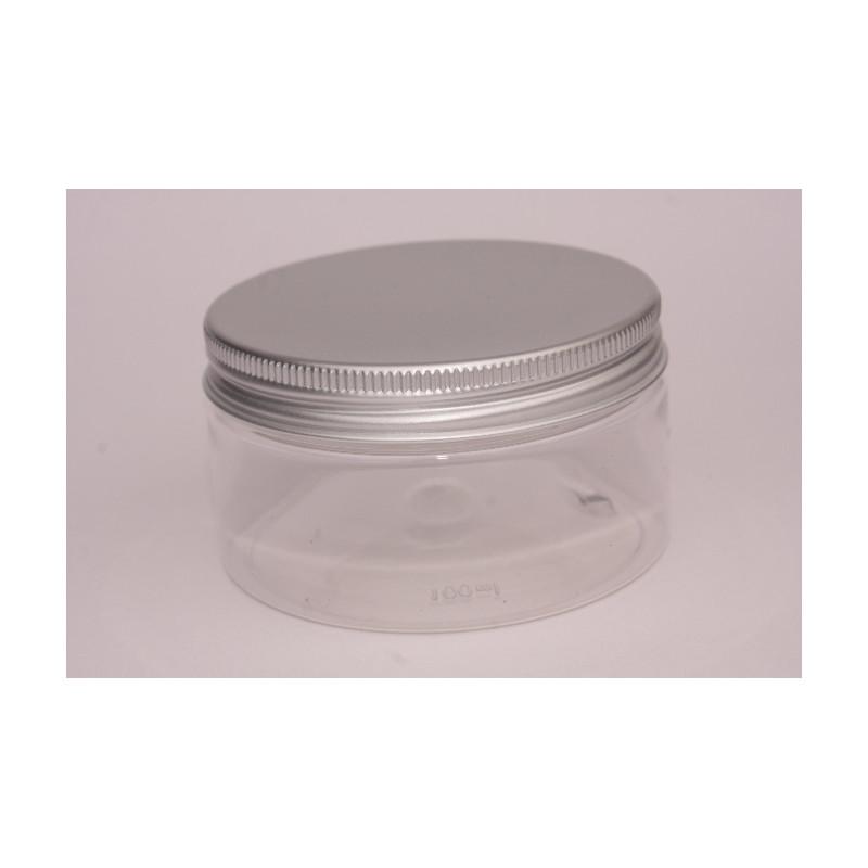 100ml Clear Plastic PET Jar/Aluminium Lid